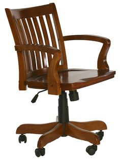 Price Reduced Antique Wooden Swivel Bankers Desk Chair