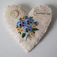 Linen heeart sachet with pansy embroidery