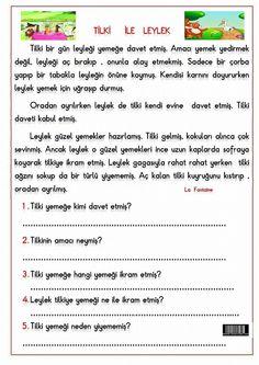 TİLKİ İLE LEYLEK Turkish Lessons, Learn Turkish, Turkish Language, Learning Arabic, Reading Passages, Drama, Classroom, Education, Math
