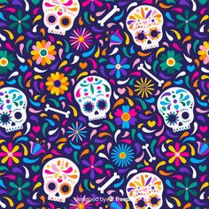 Dia de muertos pattern in flat design Vector Cute Wallpaper Backgrounds, Cute Wallpapers, Day Of The Dead Art, Flat Design, Kawaii Drawings, Drawing Sketches, Vector Freepik, Pattern, Illustration