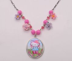 Tarina Tarantino Classic Pink Head Flower Charm Necklace *Made in California…