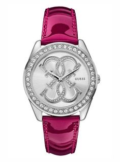 Pink and Silver-Tone Dazzling Iconic Sport Watch | GUESS.com