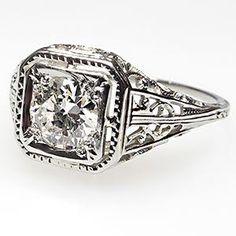 OLD EUROPEAN CUT DIAMOND FILIGREE ANTIQUE ART DECO ENGAGEMENT RING SOLID 18K WHITE GOLD