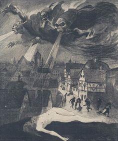 "carga-de-agua: "" Carl Olof Petersen Illustration pour ""Jugend Magazine"", Swedish illustrator, painter and woodcut artist. Dark Fantasy Art, Dark Art, Arte Horror, Horror Art, Art Visionnaire, Arte Obscura, Goth Art, Creepy Art, Dark Wallpaper"