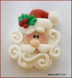 new polymer clay swirly beard santa
