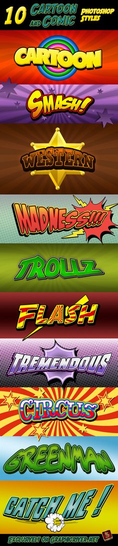 Cartoon and Comic Book Photoshop Styles  Download! → https://graphicriver.net/item/cartoon-and-comic-book-styles/335975?ref=pxcr