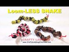 Rainbow Loom Bands Small SNAKE - NO LOOM EASY Charm Tutorials/How to Make by Crafty Ladybug - YouTube