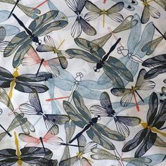 1f4cd9939e8 SALE -Lady McElroy - Layered dragonfly - 100% cotton lawn - woven fabric-1  metre and 1 fat quarter