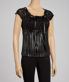 Chic, sweet, and oh-so-romantic, this darling top is sure to make a statement. Lace details and stripes complement a classic scoop neck silhouette, while contrast textures add visual appeal.Measurements (size S): 22'' long from high point of shoulder to hem95% polyester / 5% spandexDry clean