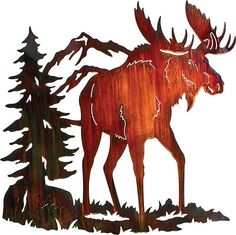 Moose Ridge Metal Wall Art by Neil Rose Color Wash Finish Metal Wall Sculpture, Wall Sculptures, Metal Wall Art, Moose Decor, Moose Art, Laser Cut Metal, Copper Art, Copper Crafts, Metal Projects