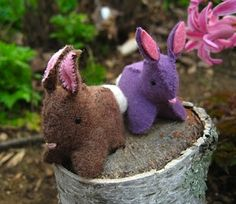 cute Easter basket bunnies from felted sweaters
