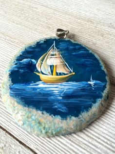 Blue Agate Slice Painted Stone Sailboat - Nautical Scene Painting - Pendant Necklace Sun Catcher or Window Home Decor - Wearable Art by WillowCreekRustic on Etsy