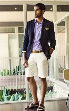Navy Luxury Cotton Sportcoat $395; Lavendar Country Club Jersey Cotton Polo; Royal Silk Paisley Pocket Sqaure; Almond Oil Superfine Cotton Twill Shorts; Tan Custom Suede Belt