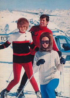 "Vintage ski sweater knitting patterns from 1971 Spinnerin Yarn ""On The Slopes"" Book"