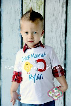 Chick Magnet Shirt ~ Boys Easter Shirt ~ Personalized Custom Applique Embroidery Boutique ~ Boys Egg Hunting Shirt ~ Boys Spring Shirt on Etsy, $23.00