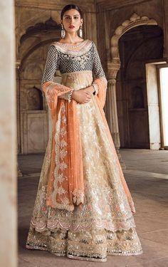 Fawn Colour Wedding Walima Dress Pakistani Wedding Dresses, Dream Wedding Dresses, Wedding Gowns, Wedding Themes, Wedding Ideas, Trendy Wedding, Wedding Ring, Party Wear Lehenga, Bridal Lehenga Choli