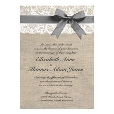 Burlap and lace wedding invitations | another style