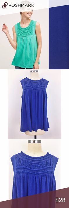 """Akemi + Kin Otranto Tank Gorgeous royal blue tank from Anthro brand Akemi + Kin. EUC- some loose threads on top embroidery. 100% cotton,  button at nape, hand wash, 25.5"""" length,  imported. Anthropologie Tops Tank Tops"""