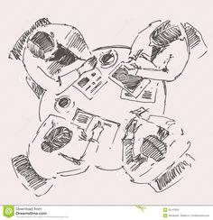 Business Team Meeting Concept Top View Sketch Stock Vector - Image: 55141333