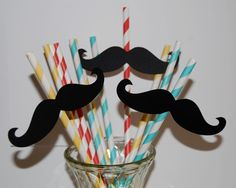 75 Mustache Cut Outs - Photo Booth Props -  Party Decorations - Garland - Cake Toppers -  party straws - wedding shower parties. $26.25, via Etsy.