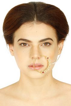 Diamond, polki, pearl and rubies studde tear drop motif pure gold nath/nose ring available only at Pernia's Pop Up Shop.