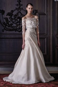 Beautiful Monique Lhuillier... Love the flow of the skirt, simplicity and complexity merge in one stunning gown!