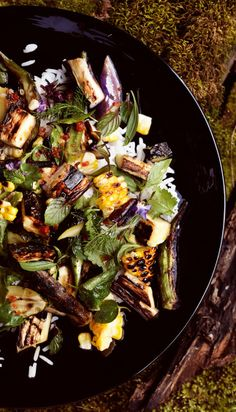 GRILLED VEGETABLE and RICE SALAD with FISH SAUCE VINAIGRETTE  [Malaysia] [Zakary Pelaccio] [bonappetit]