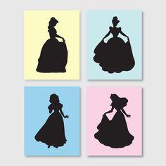 Girl's room decor – Wall Art – Disney Princess Silhouette Quad – Belle, Snow White, Cinderella, Sleeping Beauty – Nursery Art – 8 x 10. $52.50, via Etsy.