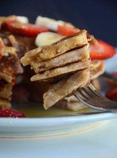 Vegan Peanut Butter Banana Pancakes with Strawberries