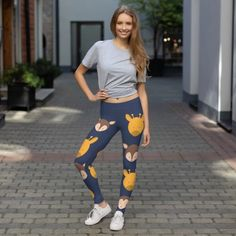 Stylish, durable, and a hot fashion staple. These polyester/spandex leggings are made of a comfortable microfiber yarn, and they'll never lose their stretch. Best Casual Outfits, Casual Wear, Fun Days Out, Sports Leggings, Personalized T Shirts, Fabric Design, Shirt Designs, Sporty, Chilling