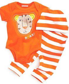 First Impressions Baby Set, Baby Boys Three-Piece Roar Lion Bodysuit, Macys