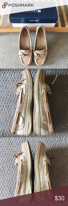 Selling this Sperry Angelfish metallic gold boat shoes size 7 on Poshmark! My username is: hurricanekimi. #shopmycloset #poshmark #fashion #shopping #style #forsale #Sperry #Shoes