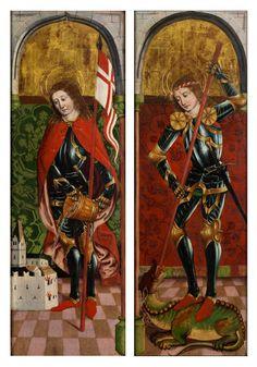 Gemäldepaar DER HEILIGE GEORG TÖTET DEN DRACHEN sowie DER HEILIGE FLORIAN LÖSCHT DAS FEUER Tempera auf Holz. 38 x 114 cm. Beide Gemälde wurden in einem...
