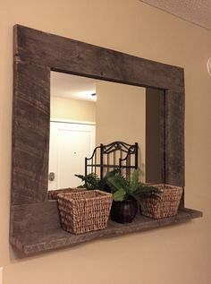 Rustic Wood Mirror Pallet Furniture Rustic Home Decor Reclaimed Pallet Wood Large Wall Mirror Hanging Mirror with Shelf by BandVRusticDesigns on Etsy https://www.etsy.com/listing/243757201/rustic-wood-mirror-pallet-furniture