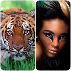 """""""Tiger"""" using all Makeup Forever products: flash palettes, aqua creams & lipsticks."""