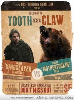 Jaime Lannister vs. The Bear - Fanart Poster - Game of Thrones