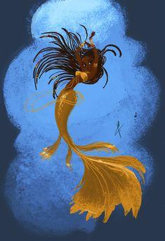 mermaid(s) a day Black Girl Art, Black Women Art, Black Art, Art Girl, Mermaid Artwork, Mermaid Drawings, Mermaid Paintings, Art Paintings, Fantasy Kunst