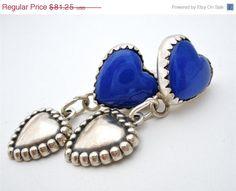 Big Sale Sterling Silver Lapis Earrings Vintage Heart Dangle ...   https://www.etsy.com/listing/174900314/big-sale-sterling-silver-lapis-earrings