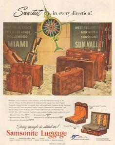 1950s vintage SAMSONITE LUGGAGE Suitcase MIAMI Sun Valley SKIING Vacation AD