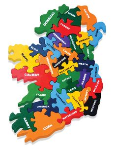 A colourful jigsaw showing the map of Ireland, with each piece representing a county of Ireland. This is a great way to learn about Ireland and have fun at the same time. Wooden Jigsaw, Wooden Baby Toys, Green Toys, Waldorf Toys, Montessori Toys, Child And Child, Jigsaw Puzzles, Alphabet, Ireland
