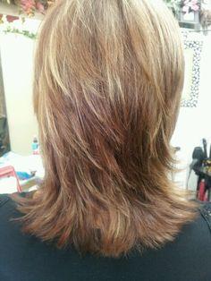 Dark copper brown/blonde hi lights