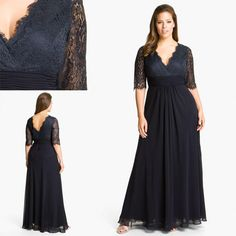 Dark Navy Lace 2015 Mother Of The Bride Dresses With Deep V Neck Half Sleeve V Back Chiffon Plus Size Long Mother'S Formal Wear Groom Gowns Mother Of The Bride Dress Hire Mother Of The Bride Dress Petite From Flip_zone, $97.86| Dhgate.Com
