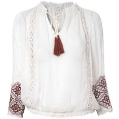 Glamorous Boho Embroidered Blouse (190 BRL) ❤ liked on Polyvore featuring tops, blouses, white blouse, bohemian tops, lipsy, bohemian style tops and embroidery blouse