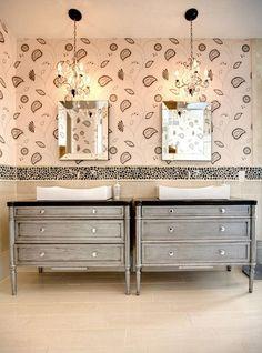 50 Clever Half Bathroom Ideas for Beautiful Bathroom Design [TIPS] Decor, Bathroom Furniture, Interior, Classic Bathroom, Beautiful Bathroom Designs, Dresser Sink, Home Decor, Chic Bathrooms, Residential Interior Design