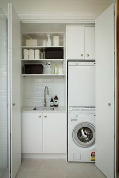 The laundry room is often an overlooked and overworked room in the home. It needs to be functional of course, but what about beautiful? Whether you have a small laundry closet or tiny laundry room, your laundry area can be… Continue Reading → Laundry Cupboard, Laundry Nook, Laundry Room Layouts, Laundry Room Remodel, Laundry Room Cabinets, Small Laundry Rooms, Laundry Room Organization, Laundry Storage, Laundry In Bathroom