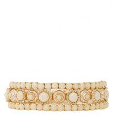 Kit 3 pulseiras marquesa marfim dourado