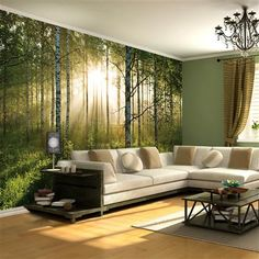 Forest Wallpaper Mural - Feature Wall This is nice & open but still interesting to look out; how I would like the living room.