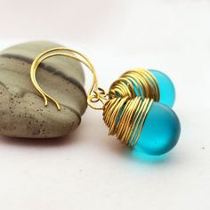Turquoise Blue Earrings with a Brass Wire Wrapped Resin Teardrop Dangle - pinned by pin4etsy.com