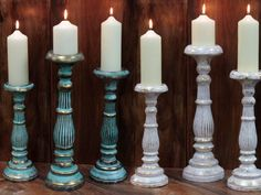 Shabby Chic Carved Wooden Candle Stand Turquoise and Gold | Florence And Rosa Shabby Chic Interiors Shop