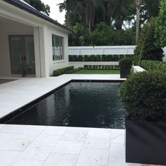 Modern pool completed renovated with out 16x16 Sand Blast Pearl Marble. #pearlmarble #modernpool #travertine #travertinepavers #pool #pooldeck #pooldesign #miamipool #miami #fortlauderdale #pompanobeachtravertine #pompanobeach #patio #outdoor #luxurypools #luxuryliving #instacool #instagood by usamarblellc Creative backyard pool designs.